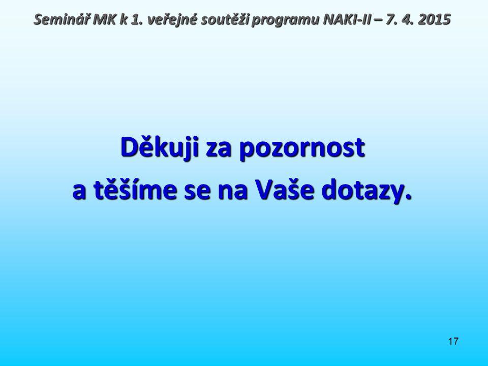 17 Děkuji za pozornost a těšíme se na Vaše dotazy. Seminář MK k 1. veřejné soutěži programu NAKI-II – 7. 4. 2015
