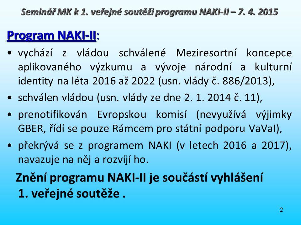 3 Program NAKI: 2011 – 2017 Celkem 1 730 mil.Kč – pouze VO (až 100 % podpora).