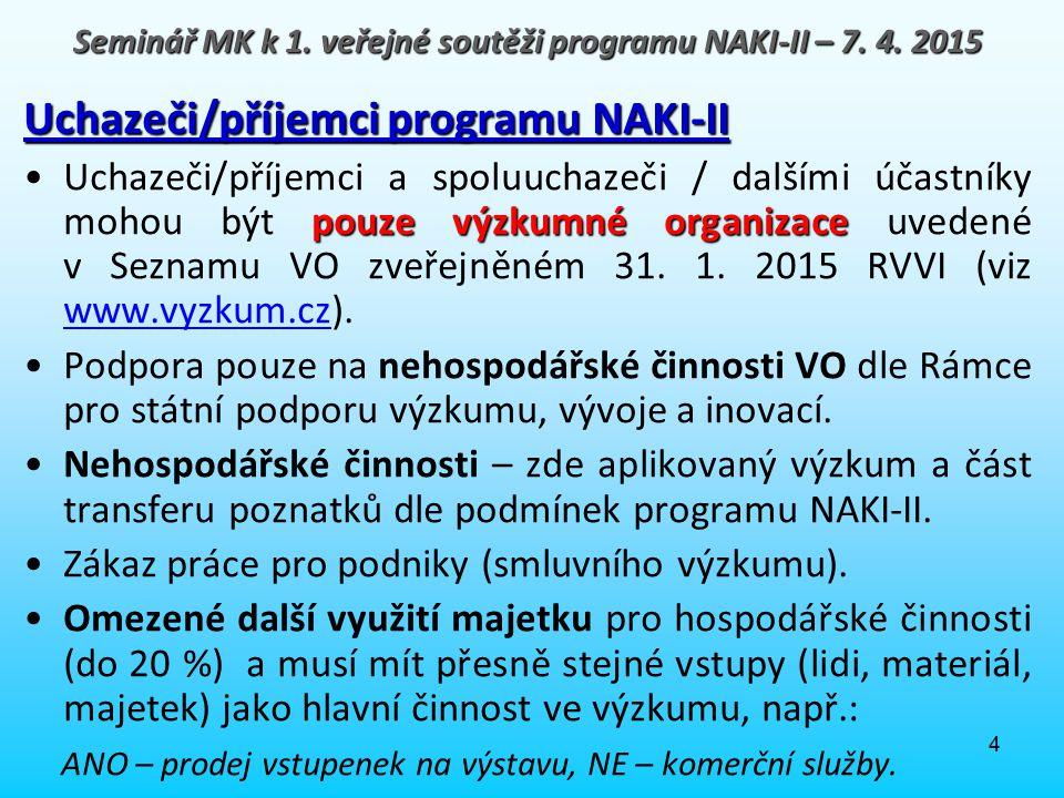 4 Uchazeči/příjemci programu NAKI-II pouze výzkumné organizaceUchazeči/příjemci a spoluuchazeči / dalšími účastníky mohou být pouze výzkumné organizac
