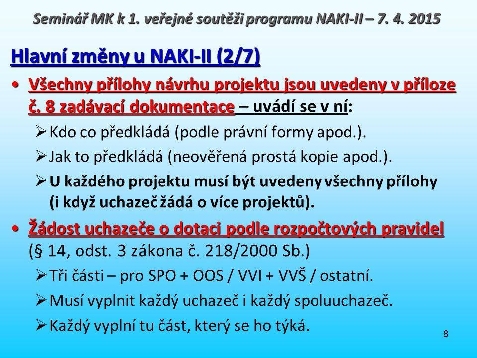 8 Hlavní změny u NAKI-II (2/7) Všechny přílohy návrhu projektu jsou uvedeny v příloze č. 8 zadávací dokumentaceVšechny přílohy návrhu projektu jsou uv
