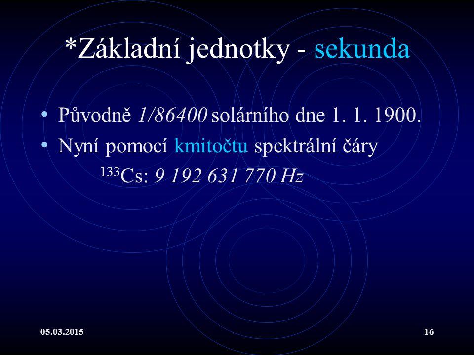 05.03.201516 *Základní jednotky - sekunda Původně 1/86400 solárního dne 1.