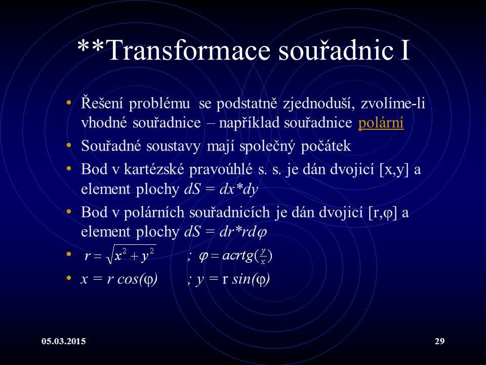 05.03.201529 **Transformace souřadnic I Řešení problému se podstatně zjednoduší, zvolíme-li vhodné souřadnice – například souřadnice polárnípolární Souřadné soustavy mají společný počátek Bod v kartézské pravoúhlé s.