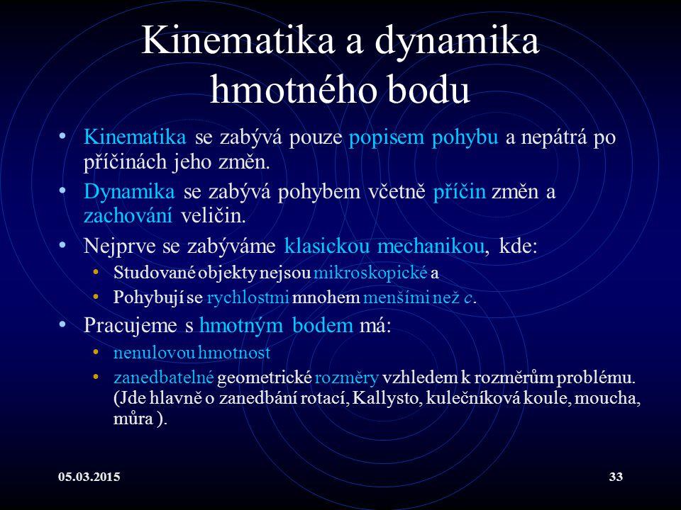05.03.201533 Kinematika a dynamika hmotného bodu Kinematika se zabývá pouze popisem pohybu a nepátrá po příčinách jeho změn.