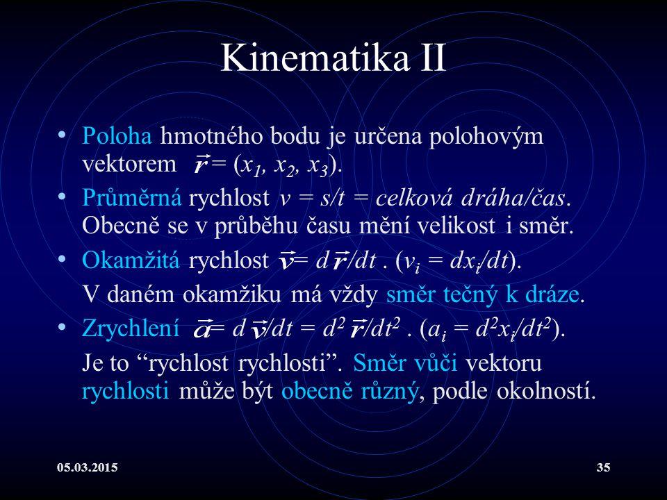 05.03.201535 Kinematika II Poloha hmotného bodu je určena polohovým vektorem = (x 1, x 2, x 3 ).