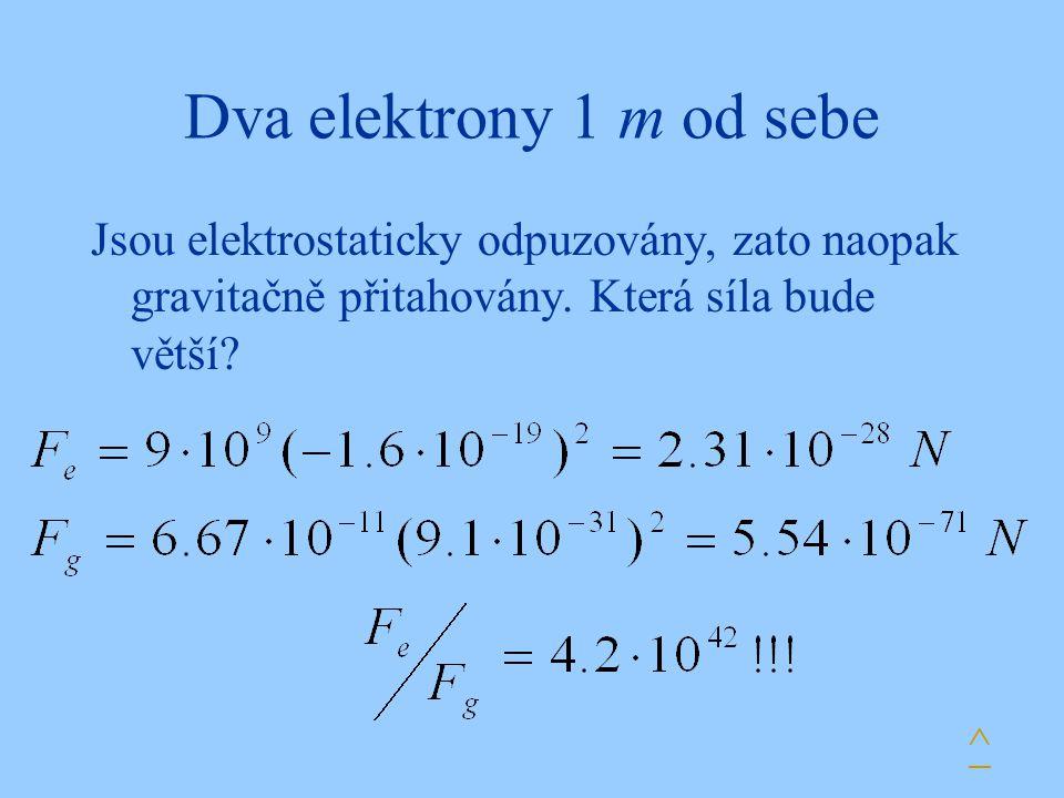 Dva elektrony 1 m od sebe Jsou elektrostaticky odpuzovány, zato naopak gravitačně přitahovány.