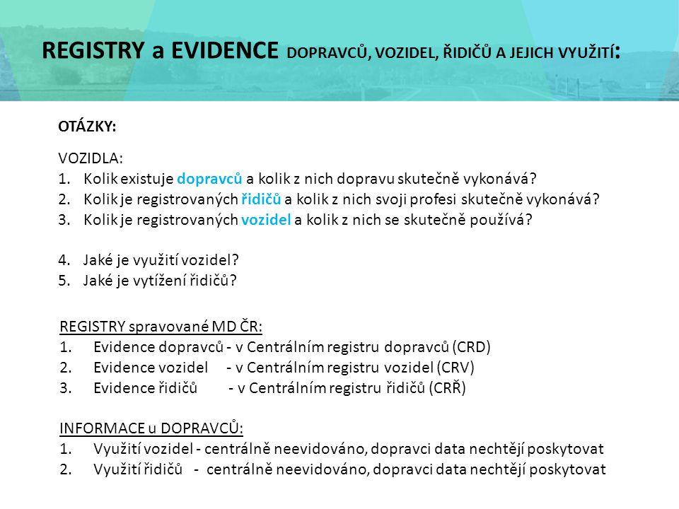 REGISTRY a EVIDENCE DOPRAVCŮ, VOZIDEL, ŘIDIČŮ A JEJICH VYUŽITÍ : REGISTRY spravované MD ČR: 1.Evidence dopravců - v Centrálním registru dopravců (CRD) 2.Evidence vozidel - v Centrálním registru vozidel (CRV) 3.Evidence řidičů - v Centrálním registru řidičů (CRŘ) INFORMACE u DOPRAVCŮ: 1.Využití vozidel - centrálně neevidováno, dopravci data nechtějí poskytovat 2.Využití řidičů - centrálně neevidováno, dopravci data nechtějí poskytovat OTÁZKY: VOZIDLA: 1.Kolik existuje dopravců a kolik z nich dopravu skutečně vykonává.
