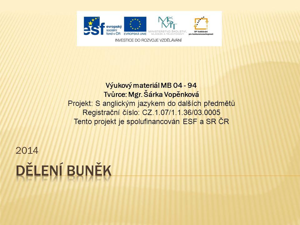 2014 Výukový materiál MB 04 - 94 Tvůrce: Mgr. Šárka Vopěnková Projekt: S anglickým jazykem do dalších předmětů Registrační číslo: CZ.1.07/1.1.36/03.00