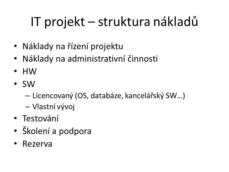 IT projekt – struktura nákladů Náklady na řízení projektu Náklady na administrativní činnosti HW SW – Licencovaný (OS, databáze, kancelářský SW…) – Vlastní vývoj Testování Školení a podpora Rezerva