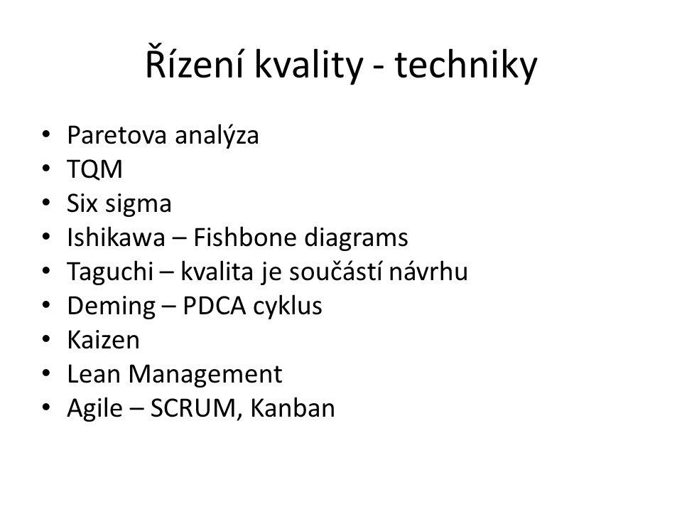 Řízení kvality - techniky Paretova analýza TQM Six sigma Ishikawa – Fishbone diagrams Taguchi – kvalita je součástí návrhu Deming – PDCA cyklus Kaizen Lean Management Agile – SCRUM, Kanban