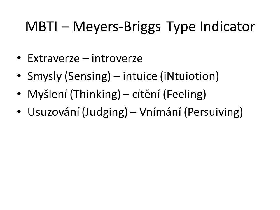 MBTI – Meyers-Briggs Type Indicator Extraverze – introverze Smysly (Sensing) – intuice (iNtuiotion) Myšlení (Thinking) – cítění (Feeling) Usuzování (Judging) – Vnímání (Persuiving)