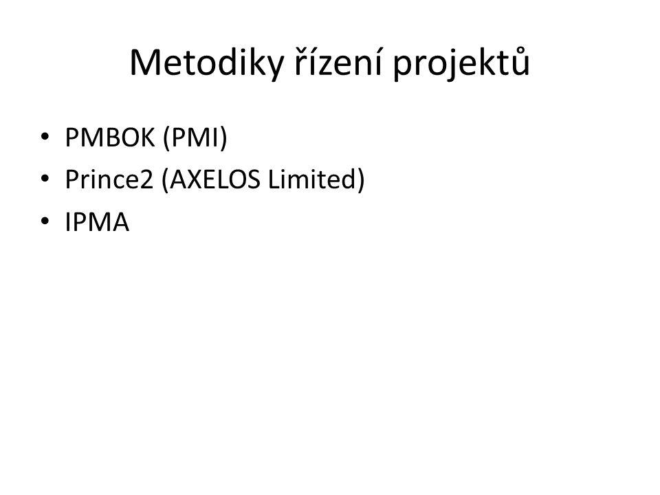 Metodiky řízení projektů PMBOK (PMI) Prince2 (AXELOS Limited) IPMA