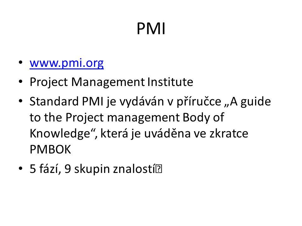 """PMI www.pmi.org Project Management Institute Standard PMI je vydáván v příručce """"A guide to the Project management Body of Knowledge , která je uváděna ve zkratce PMBOK 5 fází, 9 skupin znalostí """