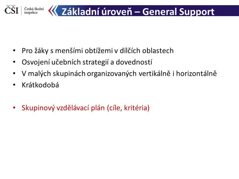 Základní úroveň – General Support Pro žáky s menšími obtížemi v dílčích oblastech Osvojení učebních strategií a dovedností V malých skupinách organizovaných vertikálně i horizontálně Krátkodobá Skupinový vzdělávací plán (cíle, kritéria)