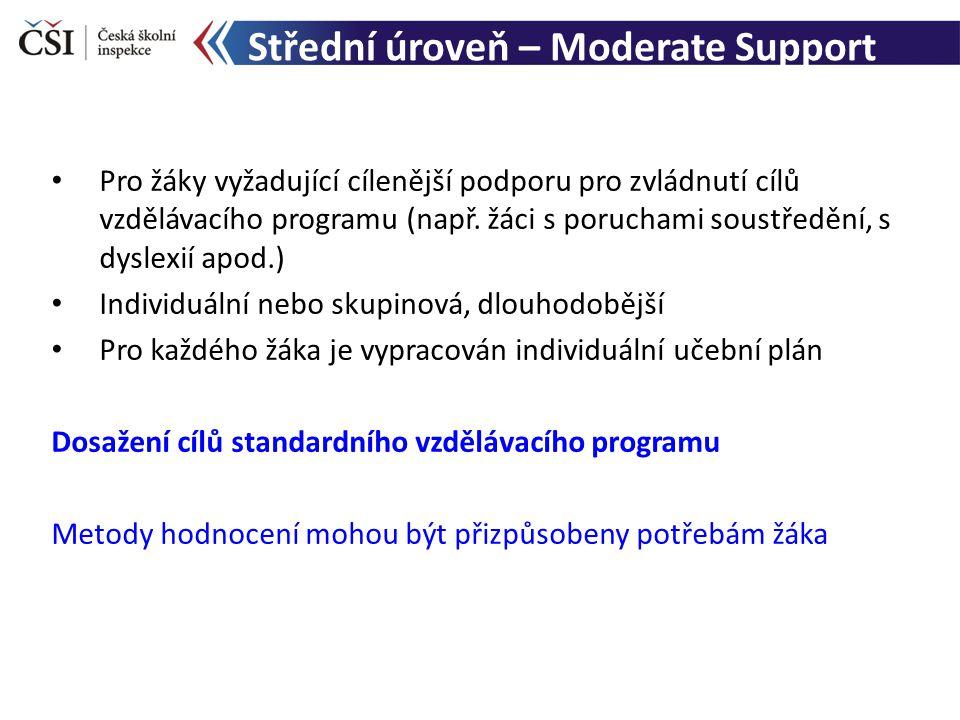 Střední úroveň – Moderate Support Pro žáky vyžadující cílenější podporu pro zvládnutí cílů vzdělávacího programu (např.