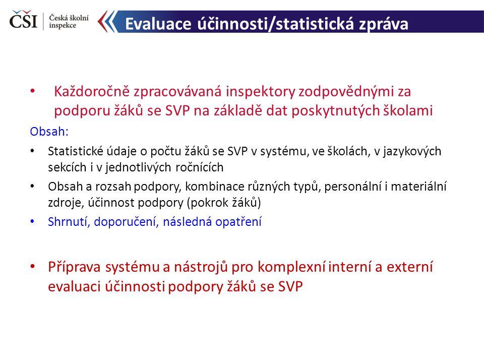 Evaluace účinnosti/statistická zpráva Každoročně zpracovávaná inspektory zodpovědnými za podporu žáků se SVP na základě dat poskytnutých školami Obsah: Statistické údaje o počtu žáků se SVP v systému, ve školách, v jazykových sekcích i v jednotlivých ročnících Obsah a rozsah podpory, kombinace různých typů, personální i materiální zdroje, účinnost podpory (pokrok žáků) Shrnutí, doporučení, následná opatření Příprava systému a nástrojů pro komplexní interní a externí evaluaci účinnosti podpory žáků se SVP