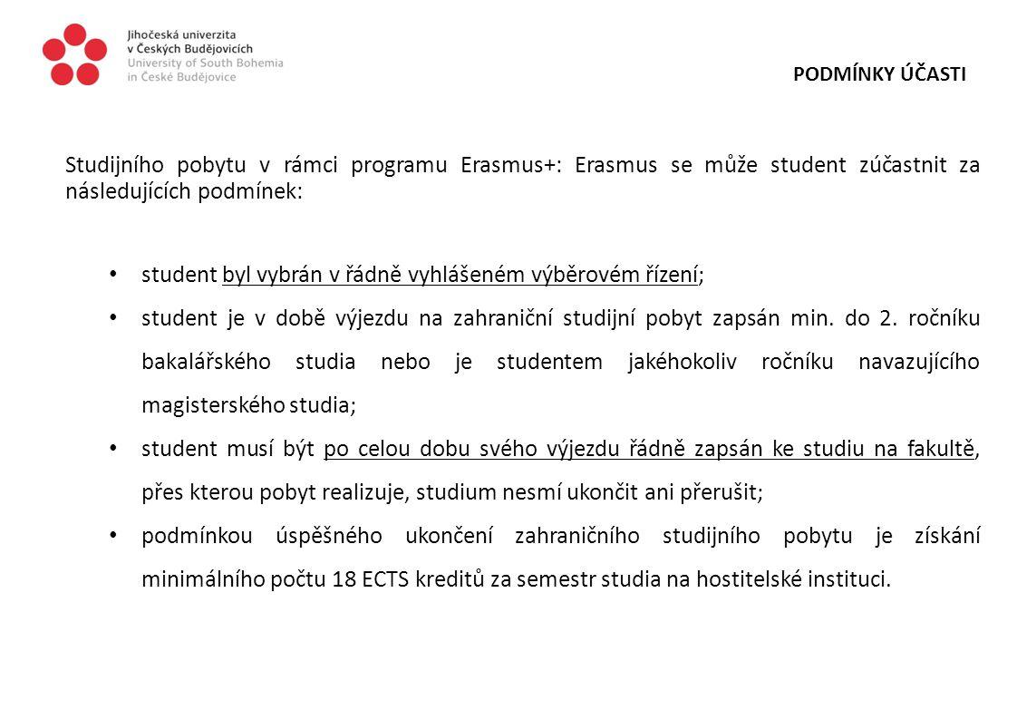 PODMÍNKY ÚČASTI Studijního pobytu v rámci programu Erasmus+: Erasmus se může student zúčastnit za následujících podmínek: student byl vybrán v řádně v