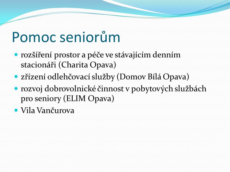 Pomoc seniorům rozšíření prostor a péče ve stávajícím denním stacionáři (Charita Opava) zřízení odlehčovací služby (Domov Bílá Opava) rozvoj dobrovoln