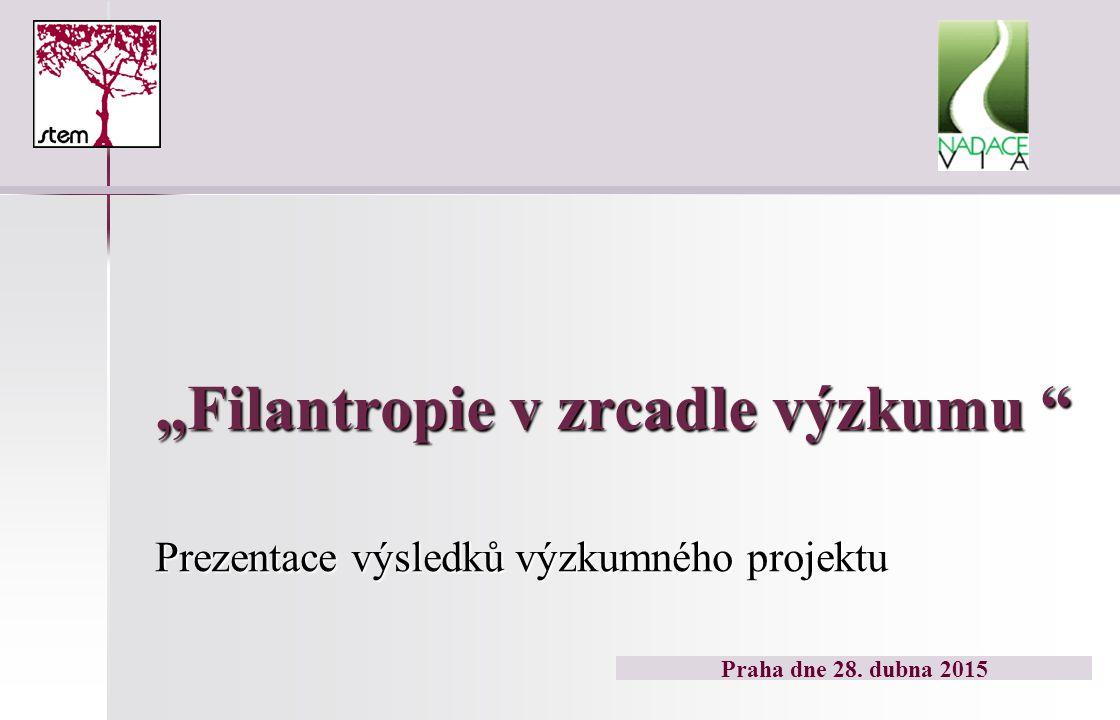 """""""Filantropie v zrcadle výzkumu Prezentace výsledků výzkumného projektu Praha dne 28. dubna 2015"""