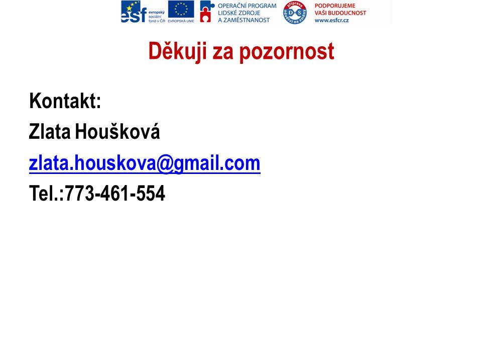 Děkuji za pozornost Kontakt: Zlata Houšková zlata.houskova@gmail.com Tel.:773-461-554