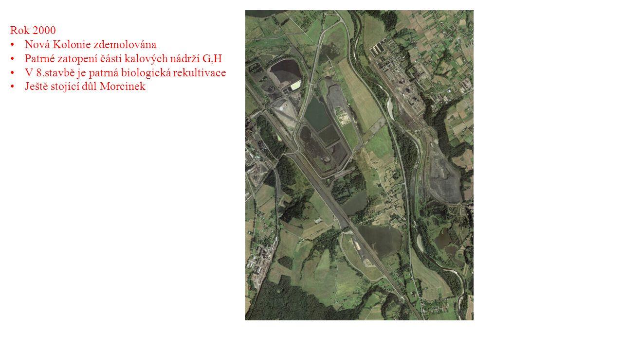 Rok 2000 Nová Kolonie zdemolována Patrné zatopení části kalových nádrží G,H V 8.stavbě je patrná biologická rekultivace Ještě stojící důl Morcinek