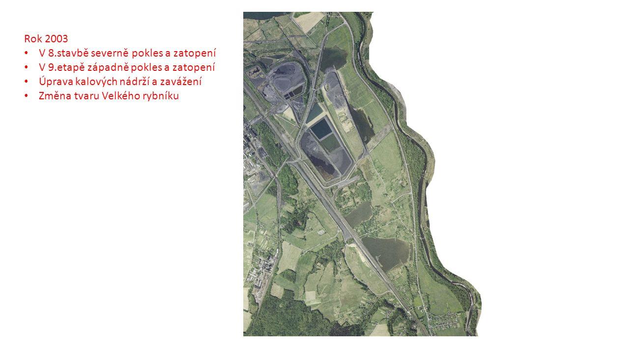 Rok 2003 V 8.stavbě severně pokles a zatopení V 9.etapě západně pokles a zatopení Úprava kalových nádrží a zavážení Změna tvaru Velkého rybníku