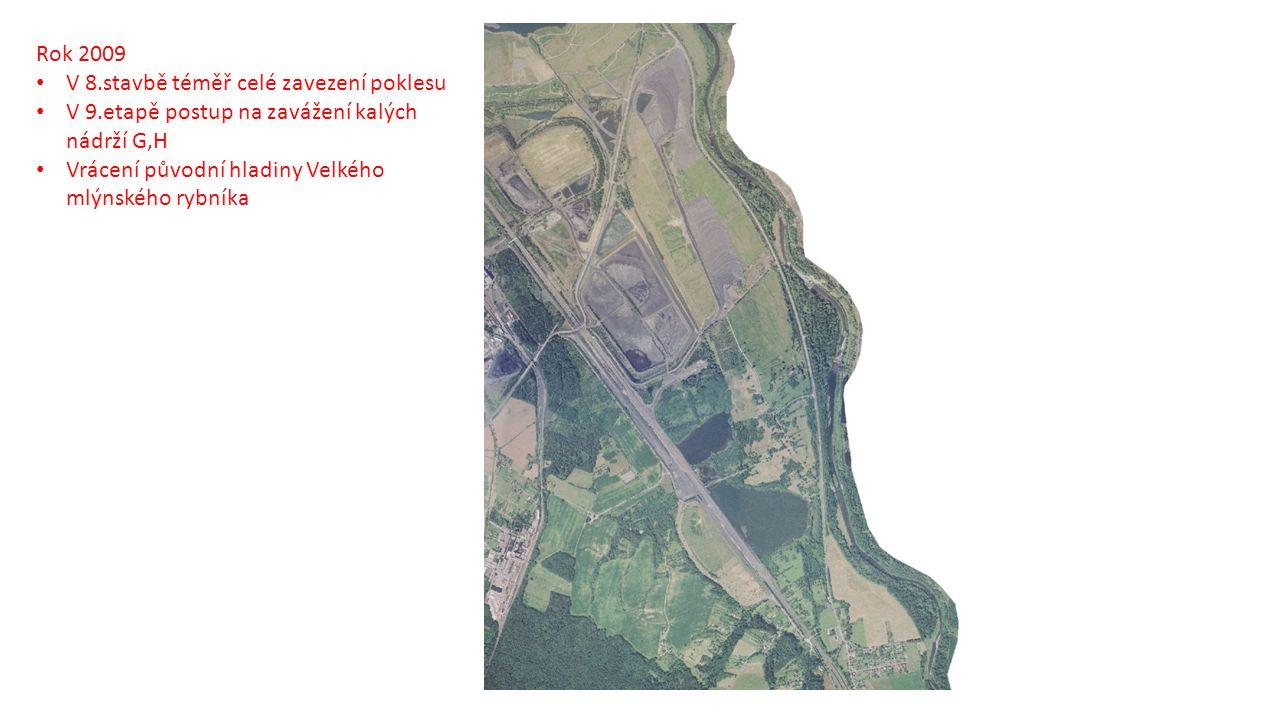 Rok 2009 V 8.stavbě téměř celé zavezení poklesu V 9.etapě postup na zavážení kalých nádrží G,H Vrácení původní hladiny Velkého mlýnského rybníka