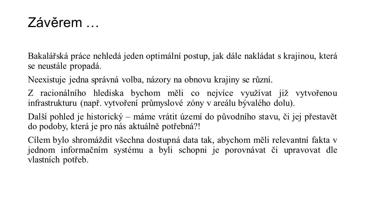 Závěrem … Bakalářská práce nehledá jeden optimální postup, jak dále nakládat s krajinou, která se neustále propadá.
