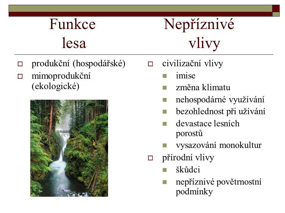 Funkce Nepříznivé lesavlivy  produkční (hospodářské)  mimoprodukční (ekologické)  civilizační vlivy imise změna klimatu nehospodárné využívání bezohlednost při užívání devastace lesních porostů vysazování monokultur  přírodní vlivy škůdci nepříznivé povětrnostní podmínky