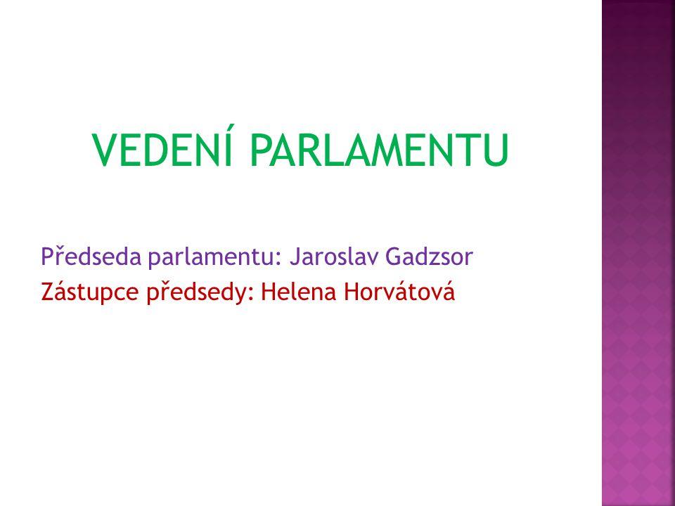 VEDENÍ PARLAMENTU Předseda parlamentu: Jaroslav Gadzsor Zástupce předsedy: Helena Horvátová