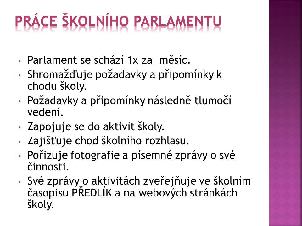 Parlament se schází 1x za měsíc. Shromažďuje požadavky a připomínky k chodu školy. Požadavky a připomínky následně tlumočí vedení. Zapojuje se do akti