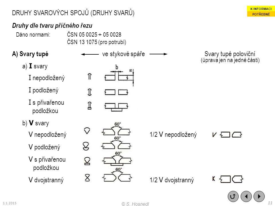 DRUHY SVAROVÝCH SPOJŮ (DRUHY SVARŮ) Druhy dle tvaru příčného řezu Dáno normami: ČSN 05 0025 ÷ 05 0028 ČSN 13 1075 (pro potrubí) A) Svary tupé ve styko