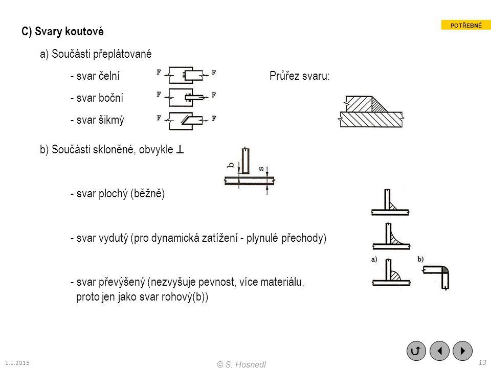 C) Svary koutové a) Součásti přeplátované - svar čelní Průřez svaru: - svar boční - svar šikmý b) Součásti skloněné, obvykle  - svar plochý (běžně) -