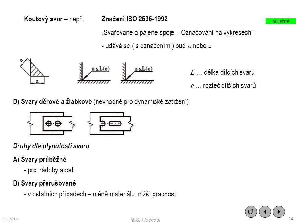 """Koutový svar – např. Značení ISO 2535-1992 """"Svařované a pájené spoje – Označování na výkresech"""" - udává se ( s označením!) buď a nebo z L … délka dílč"""