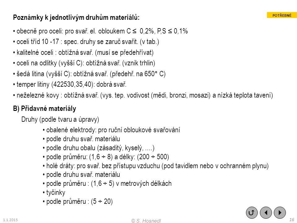 Poznámky k jednotlivým druhům materiálů: obecně pro oceli: pro svař. el. obloukem C ≤ 0,2%, P,S ≤ 0,1% oceli tříd 10 -17 : spec. druhy se zaruč svařit