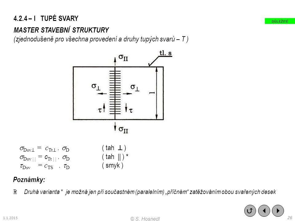 4.2.4 – I TUPÉ SVARY MASTER STAVEBNÍ STRUKTURY (zjednodušeně pro všechna provedení a druhy tupých svarů – T )  Dsv  = c Tt .  D ( tah  )  Dsv |