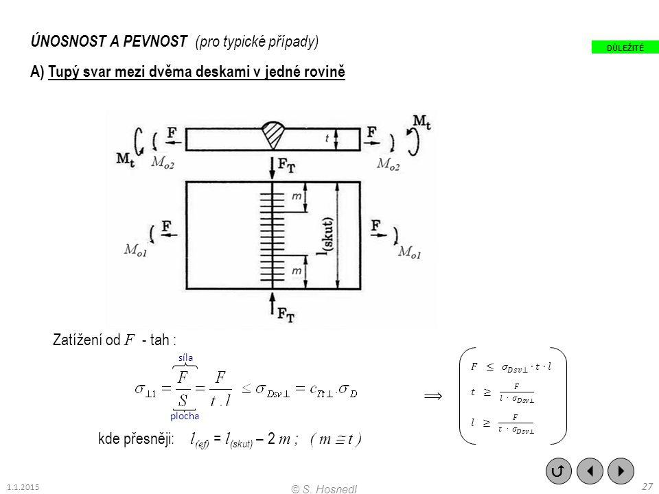 ÚNOSNOST A PEVNOST (pro typické případy) A) Tupý svar mezi dvěma deskami v jedné rovině Zatížení od F - tah : kde přesněji: l (ef) = l (skut) – 2 m ;