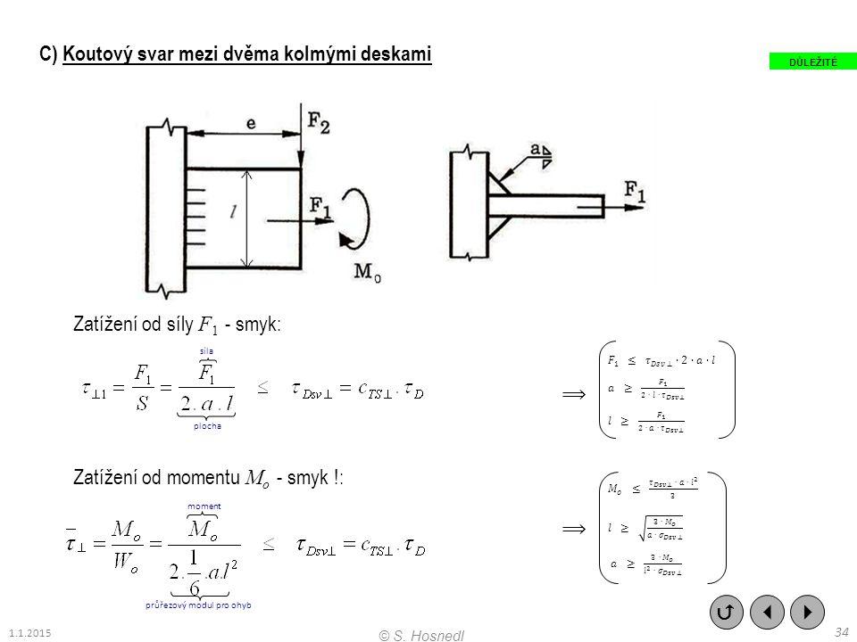 C) Koutový svar mezi dvěma kolmými deskami Zatížení od síly F 1 - smyk: Zatížení od momentu M o - smyk !:    34 © S. Hosnedl 1.1.2015 DŮLEŽITÉ ploc