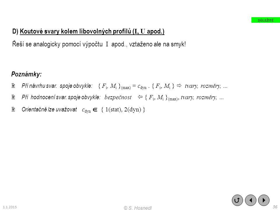 D) Koutové svary kolem libovolných profilů ( I, U apod.) Řeší se analogicky pomocí výpočtu I apod., vztaženo ale na smyk! Poznámky:  Při návrhu svar.