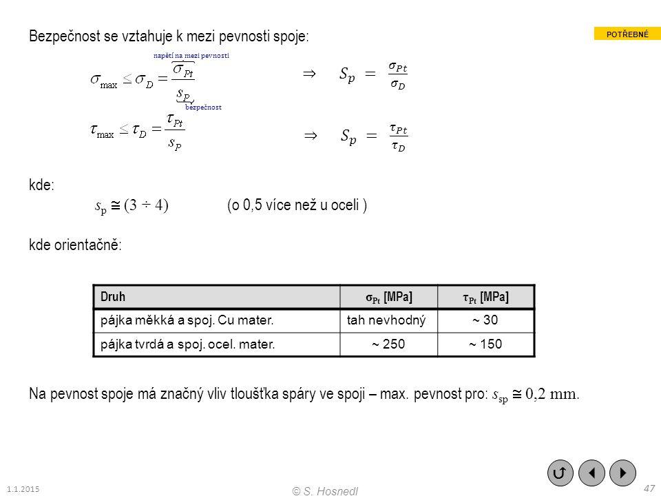 bezpečnost napětí na mezi pevnosti Bezpečnost se vztahuje k mezi pevnosti spoje: kde: s p  (3 ÷ 4) (o 0,5 více než u oceli ) kde orientačně: Na pevno