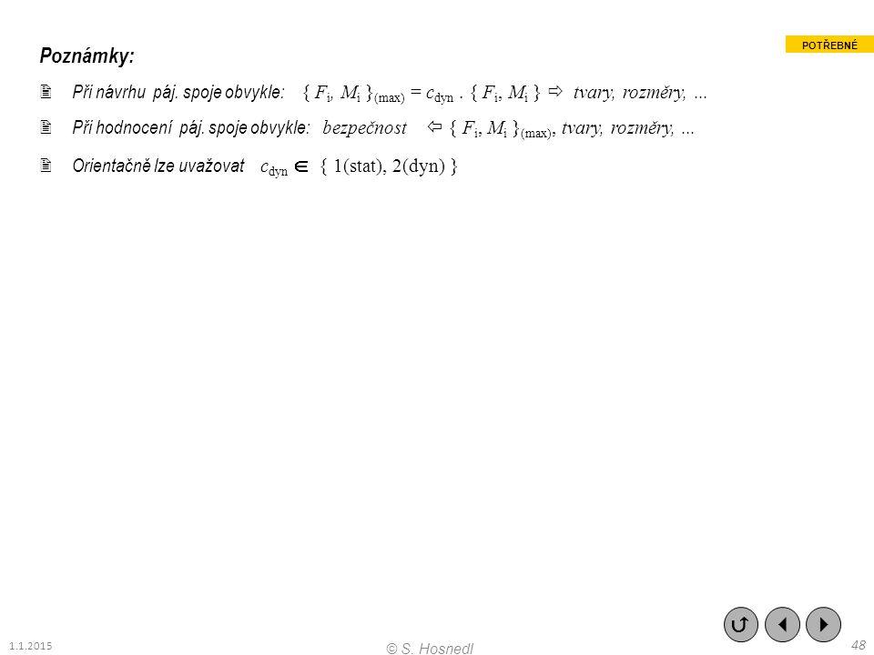 Poznámky:  Při návrhu páj. spoje obvykle: { F i, M i } (max) = c dyn. { F i, M i }  tvary, rozměry,...  Při hodnocení páj. spoje obvykle: bezpečnos