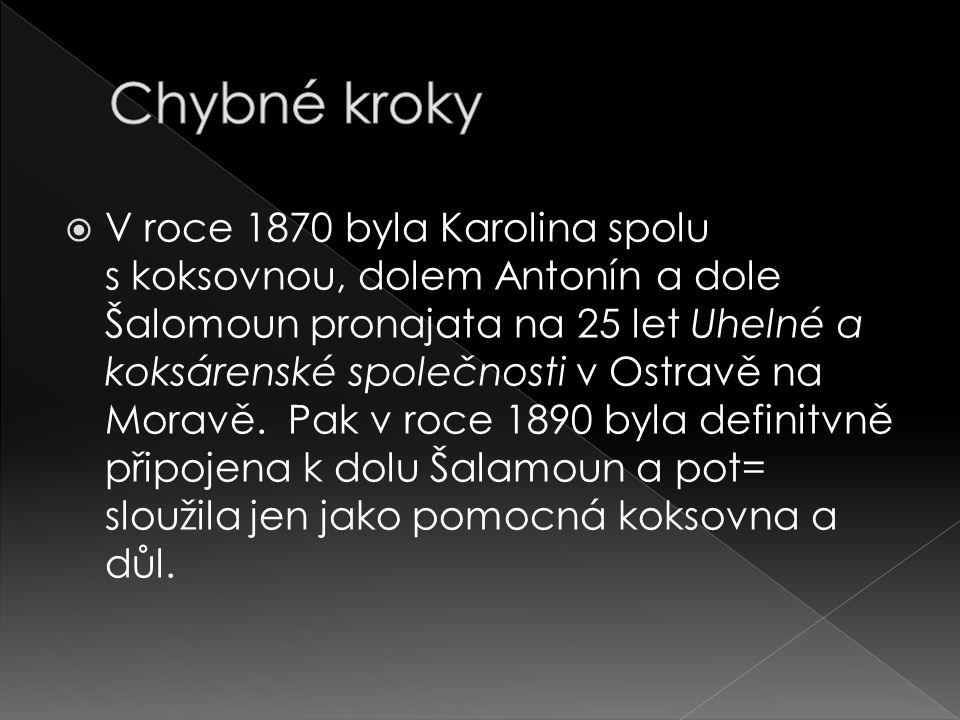  V roce 1870 byla Karolina spolu s koksovnou, dolem Antonín a dole Šalomoun pronajata na 25 let Uhelné a koksárenské společnosti v Ostravě na Moravě.