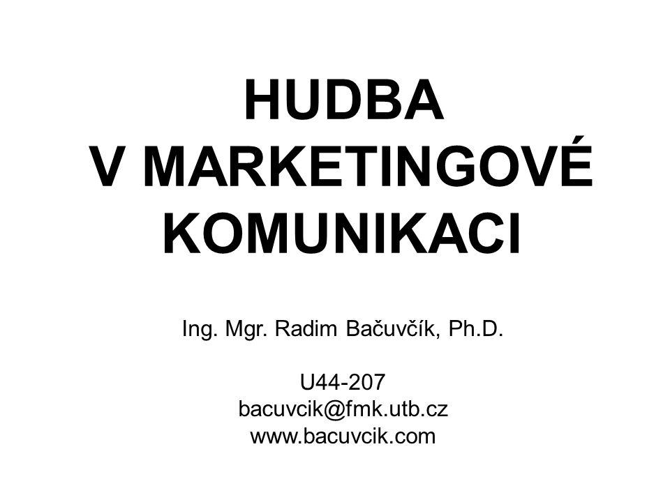 HUDBA V MARKETINGOVÉ KOMUNIKACI Ing. Mgr. Radim Bačuvčík, Ph.D. U44-207 bacuvcik@fmk.utb.cz www.bacuvcik.com