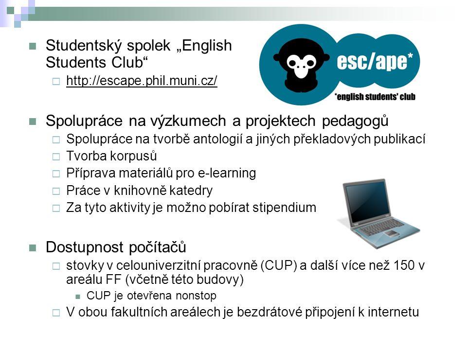 """Studentský spolek """"English Students Club""""  http://escape.phil.muni.cz/ Spolupráce na výzkumech a projektech pedagogů  Spolupráce na tvorbě antologií"""