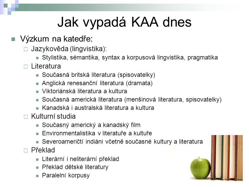 Jak vypadá KAA dnes Výzkum na katedře:  Jazykověda (lingvistika): Stylistika, sémantika, syntax a korpusová lingvistika, pragmatika  Literatura Souč