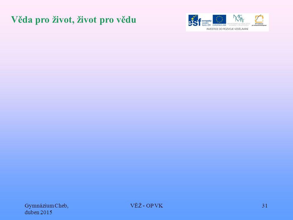 Věda pro život, život pro vědu Gymnázium Cheb, duben 2015 VĚŽ - OP VK31
