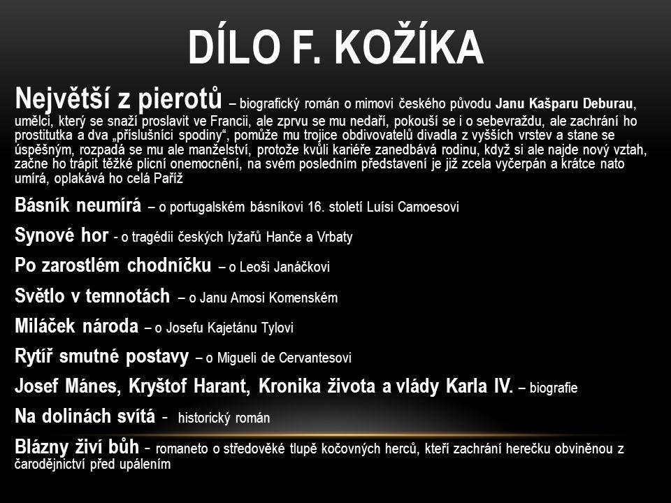 DÍLO F. KOŽÍKA Největší z pierotů – biografický román o mimovi českého původu Janu Kašparu Deburau, umělci, který se snaží proslavit ve Francii, ale z
