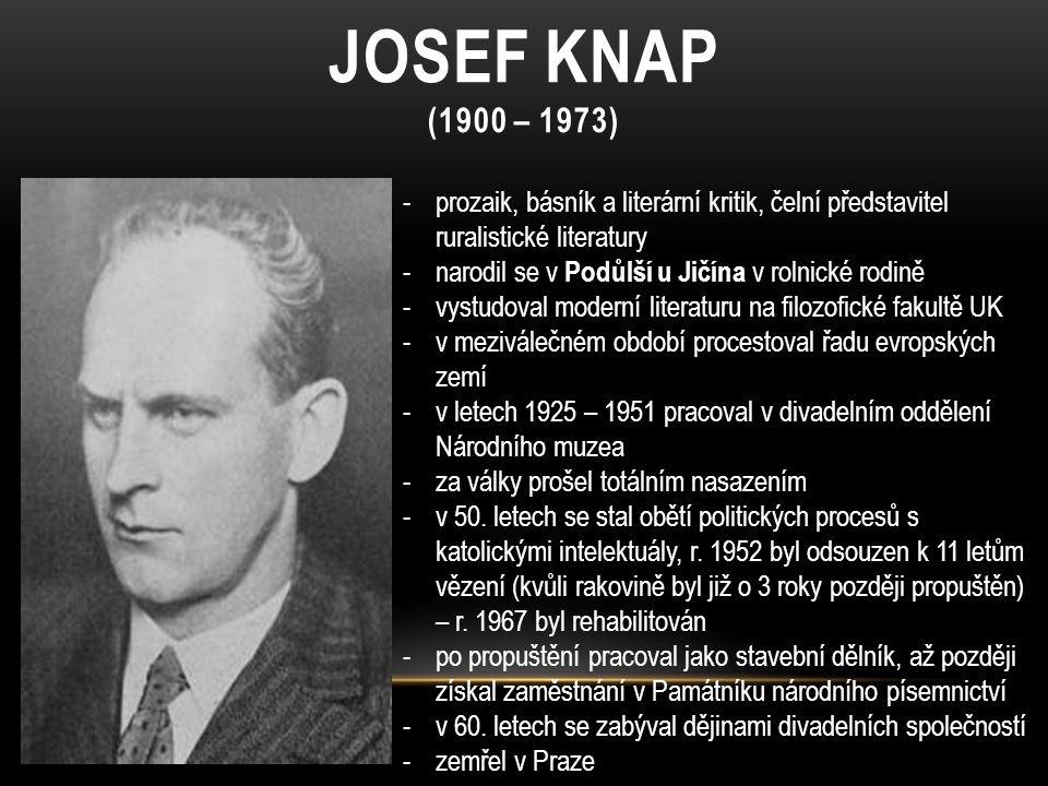 JOSEF KNAP (1900 – 1973) -prozaik, básník a literární kritik, čelní představitel ruralistické literatury -narodil se v Podůlší u Jičína v rolnické rod