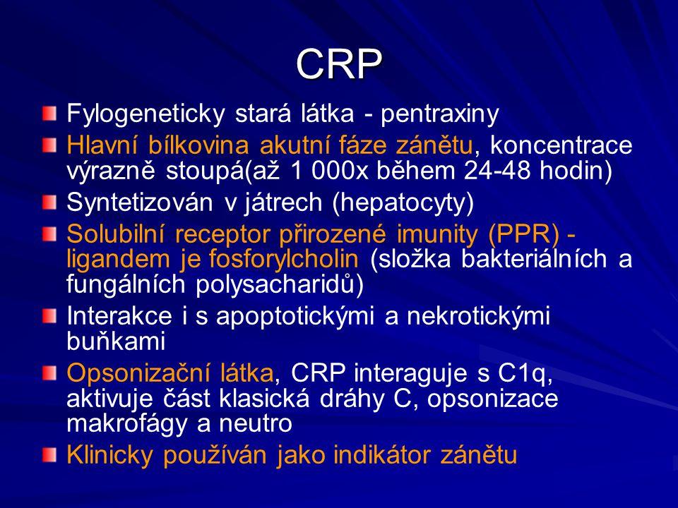 CRP Fylogeneticky stará látka - pentraxiny Hlavní bílkovina akutní fáze zánětu, koncentrace výrazně stoupá(až 1 000x během 24-48 hodin) Syntetizován v