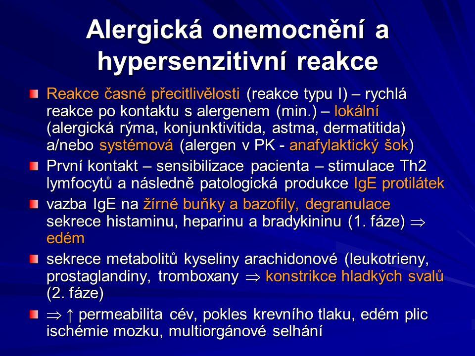 Alergická onemocnění a hypersenzitivní reakce Reakce časné přecitlivělosti (reakce typu I) – rychlá reakce po kontaktu s alergenem (min.) – lokální (a