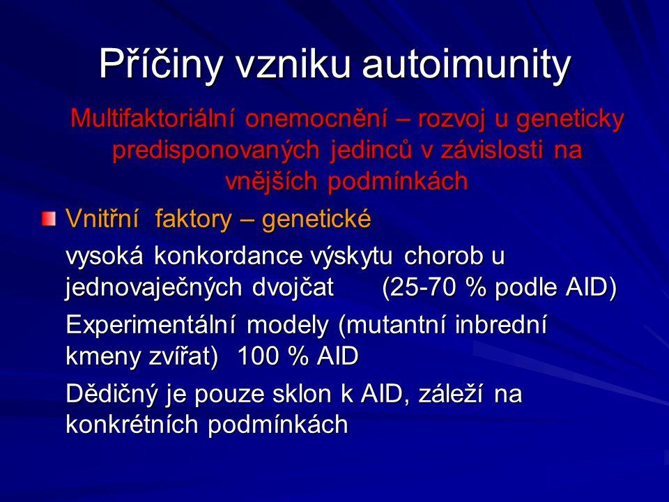 Příčiny vzniku autoimunity Multifaktoriální onemocnění – rozvoj u geneticky predisponovaných jedinců v závislosti na vnějších podmínkách Vnitřní fakto
